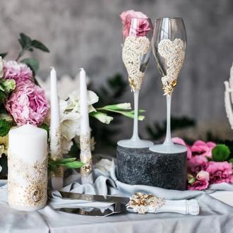 Набор на свадьбу Кружевная вуаль. Бокалы для шампанского, приборы для торта и набор свечей