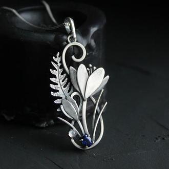 Кулон серебряный женский Крокусы