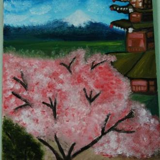 Картина маслом Цвітуча сакура