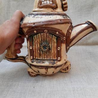 """Стимпанк чайник """"Argonaut"""" керамический, ручная работа"""