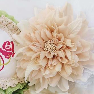 Брошь цветок «Фантазийная астра». Цветы из ткани