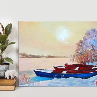 """""""Лодки на снегу"""" картина маслом 35/50 см"""