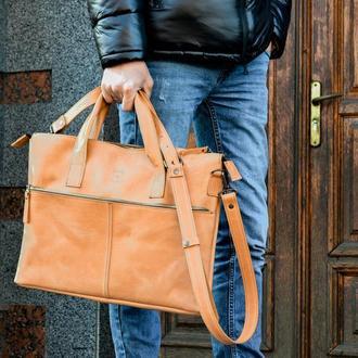 Кожаная мужская сумка для ноутбука коричневая