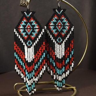 Серьги из бисера в стиле этно. Разноцветные сережки ручной работы. Украшения из бисера на заказ