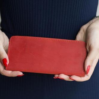 Длинный кошелек в два сложения из натуральной кожи красный