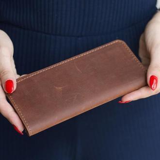 Длинный кошелек в два сложения из натуральной кожи