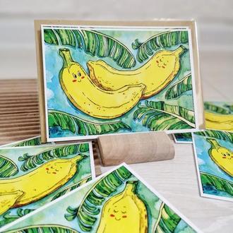 """Открытка """"Влюбленные бананы"""""""