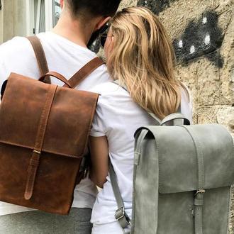 Кожаный рюкзак «Backy Brown» мужской/женский коричневый (26x35 см) ручной работы от pan Krepko