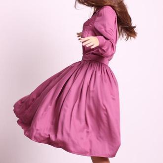 Платье-рубашка из полированного хлопка цвета марсала