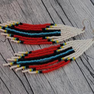 Длинные серьги из бисера, разноцветные сережки из бисера в стиле ЭТНО