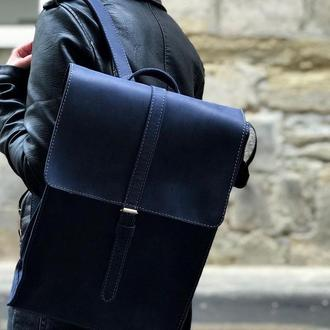 Кожаный рюкзак «Backy Blue» мужской/женский синий (26x35 см) ручной работы от pan Krepko