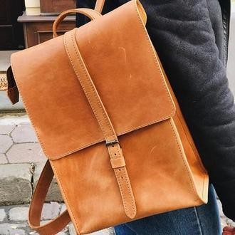 Кожаный рюкзак «Backy Foxy» мужской/женский песочный (26x35 см) ручной работы от pan Krepko
