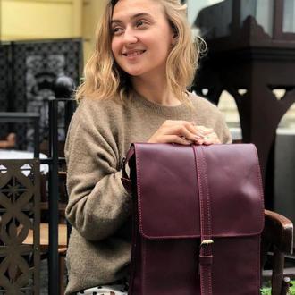 Кожаный рюкзак «Backy Marsala» мужской/женский бордовый (26x35 см) ручной работы от pan Krepko