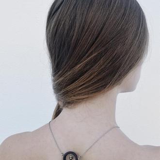 Підвіска Коло з перлиною - перли - світлий - темний - натуральний - незвичайне прикраса