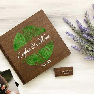 Подарочная коробка для свадебных фотографий и флешки в тропическом стиле
