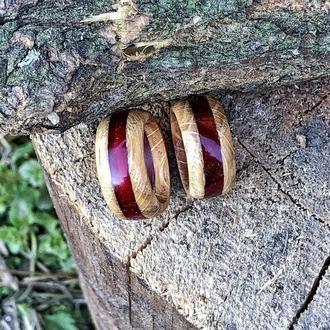 """""""Парные"""", кольца из дерева и смолы, красное кольцо, кольцо для пары, подарок для пары, влюбленные"""