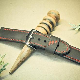 Ремешок для наручных часов Oscar 24мм. Шоколад с красным шнуром