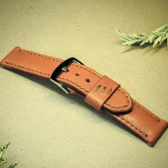 Ремешок для наручных часов Oscar 24мм. Рыжий краст с коричневым шнуром