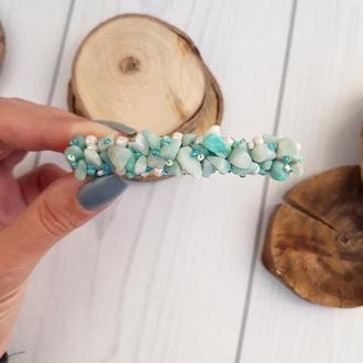 Заколка автомат с натуральными камнями амазонит светло голубая