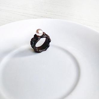 Структурний Перстень з великою перлиною - кольцо с жемчугом - натуральный жемчуг - черный - белый