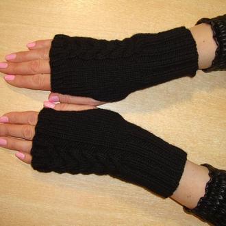 Митенки перчатки без пальцев женские вязаные стильные 2020