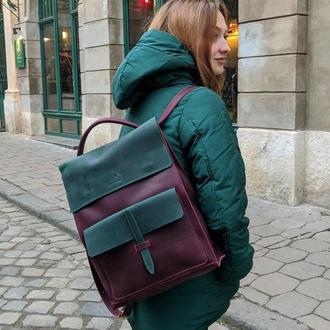 Рюкзак трансформер из кожи крейзи хорс Jordan bp_17 Bordo+Green