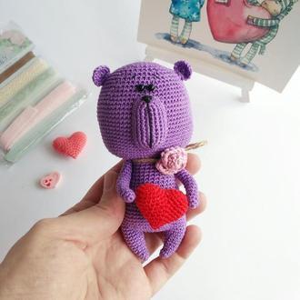 """Маленькая мягкая игрушка """"Сиреневый Мишутка"""", Милый мишка, игрушка медведь, подарок на Св. Валентина"""