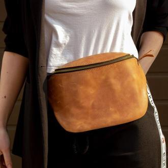 Элегантная и удобная кожаная сумка на пояс