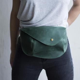 Поясная сумка для женщин из натуральной кожи зеленый