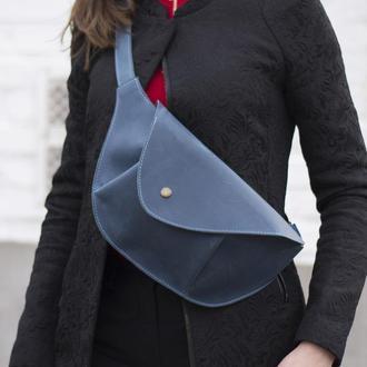 Кожаная поясная сумка голубой