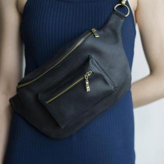 Стильная поясная сумка из натуральной кожи черный