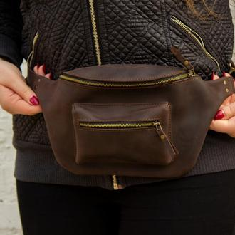 Кожаная поясная сумка  коричневый