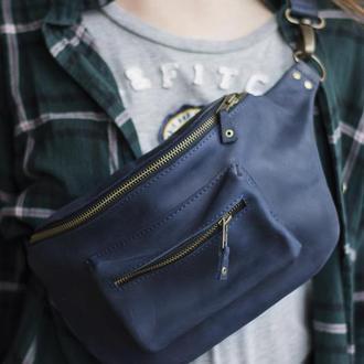 Кожаная поясная сумка синий
