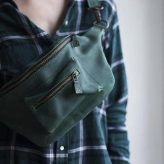 Стильна поясна сумка з натуральної шкіри зелений