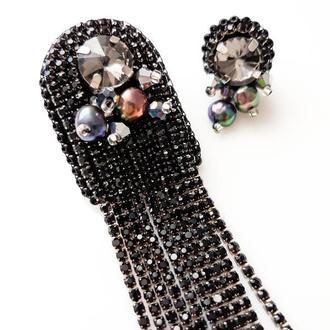 Асиметричні сережки Моносерьга Длинные черные серьги