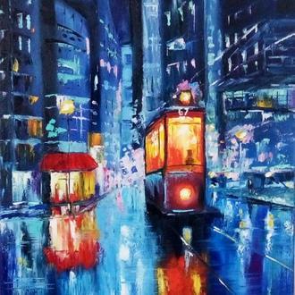 Картина Ночной трамвай, масло, формат 30 х 40 см
