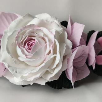 """Прикраса для волосся """"Троянда і гортензії"""""""