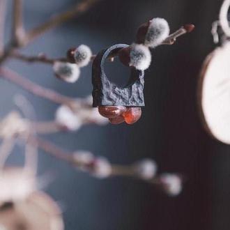 Перстень з Сердоліком - широкий гладкий - вузький структурований - дерево - сердолик - красній