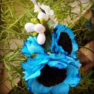 Заколка уточка с цветами из фоамирана