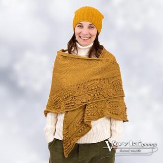 Теплая шаль из шерсти горчичная