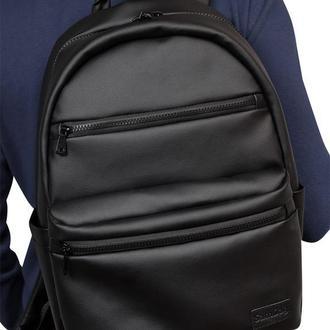 Мужской черный вместительную рюкзак, экокожа