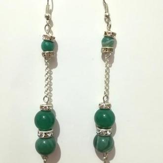 Серьги из Агата натуральный камень, цвет оттенки зеленого \ S - 0301