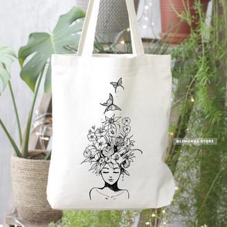 """Экосумка с рисунком """"Мечты"""", Белый шоппер, Торба для покупок, эко сумка"""
