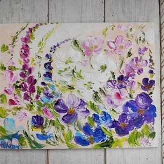 Картина абстракция полевые цветы