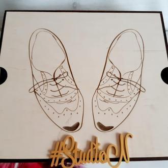 Коробка органайзер  для обувных щеток ,кремов, и косметики  36х32х10 см с гравировкой