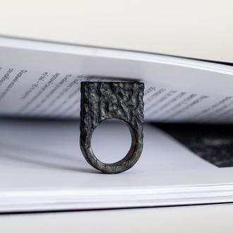 Перстень структурований високий - кольцо дерево - необычное - черное