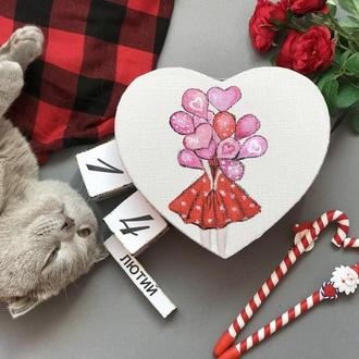 Сердечко-валентинкка з кульками з записками 100 причин чому я тебе кохаю.