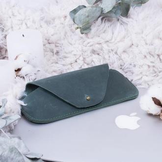 Кожаный чехол для очков на кобурной застежке зеленый
