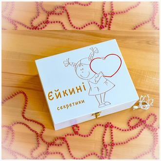Детская именная шкатулка коробочка Мамины сокровища для ребенка украшений новорожденных из дерева