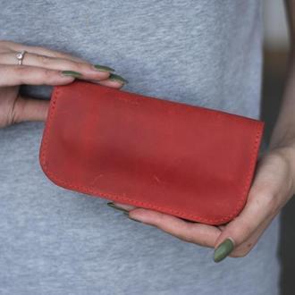 Кожаный чехол для очков на магнитах красный